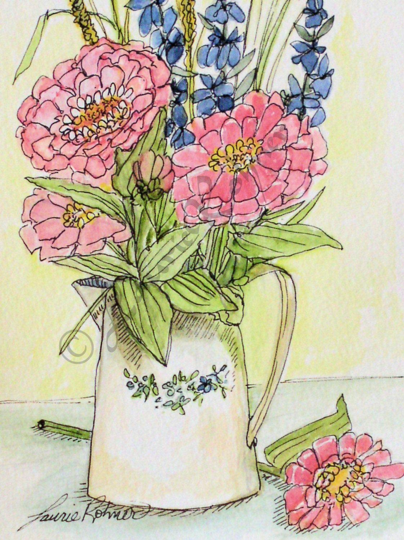 Pink Zinnias Watercolor Illustration Garden Flower Art by BetweenTheWeeds on Etsy