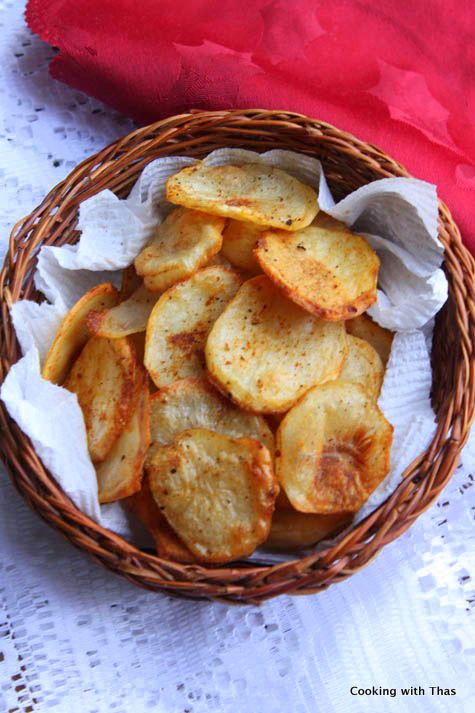 Potato Chips - Baked -Crispy and crunchy potato chips | Cooking with Thas