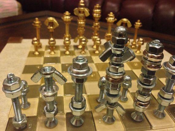 crous et boulons chess set set d 39 checs par guestbookery sur etsy petit projet pinterest. Black Bedroom Furniture Sets. Home Design Ideas