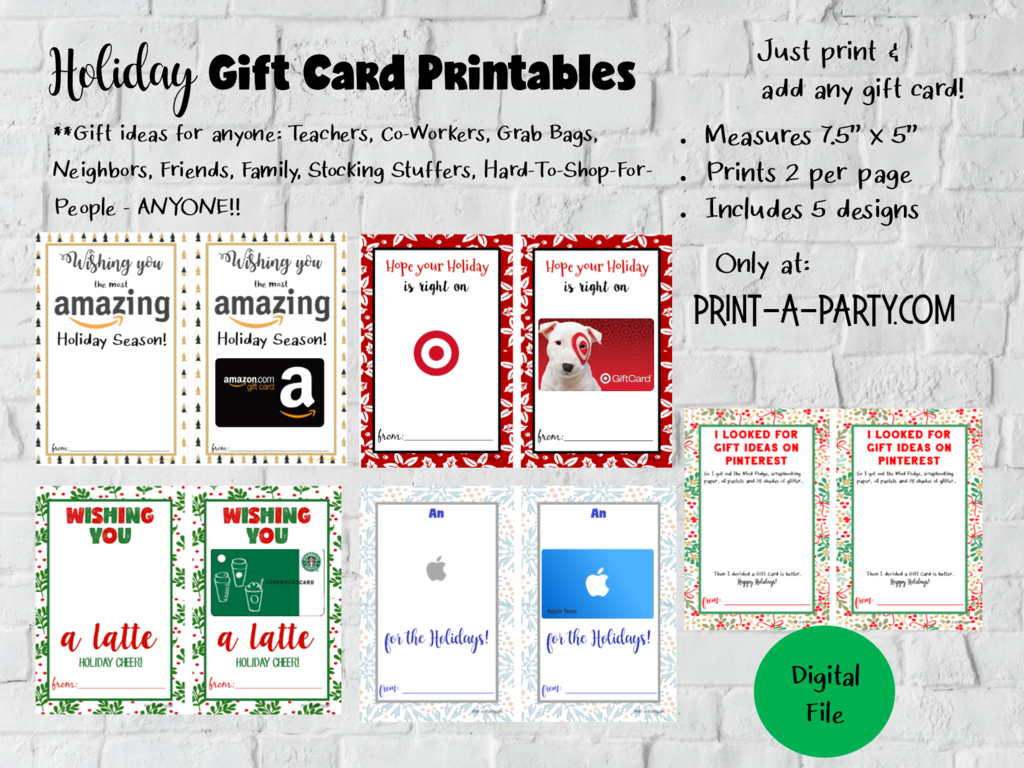 Gift Card Templates Amazon Apple Target Starbucks For Holidays Instant Download Use Each Year Gift Card Template Holiday Gift Card Free Starbucks Gift Card