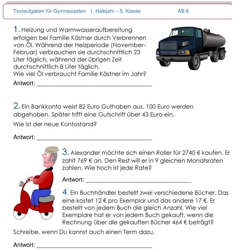 Übungsblatt zu Textaufgaben und Zweisatz | Mathe Klassenarbeiten 3/4 ...