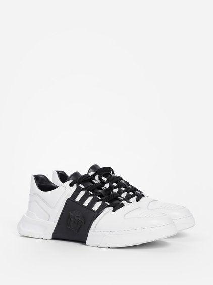 Versace Bicolor Laced Sneakers In