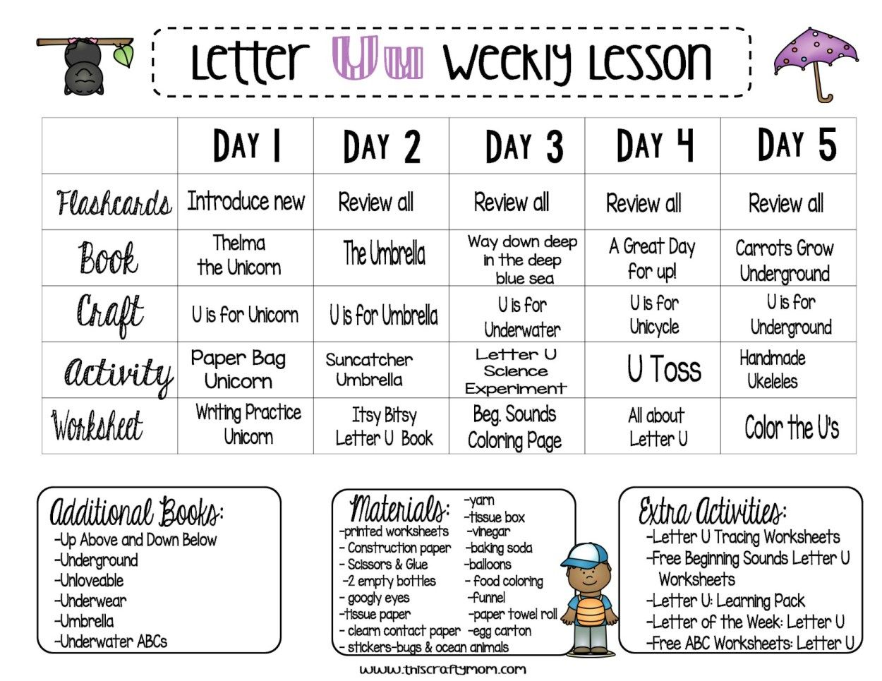 Letter U Free Preschool Weekly Lesson Plan Letter Of