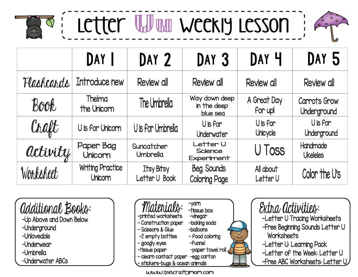 Letter U Free Preschool Weekly Lesson Plan Letter Of