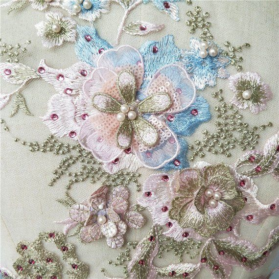 Candy Color 3D Embroidery Beading Patch Flower Applique