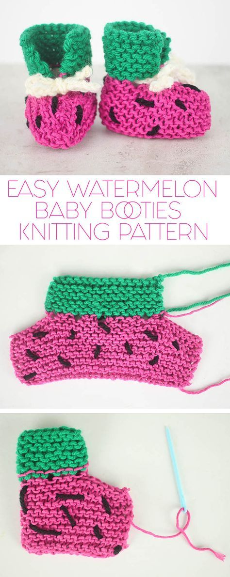 FREE knitting pattern for these totally EASY Watermelon Baby Booties ...