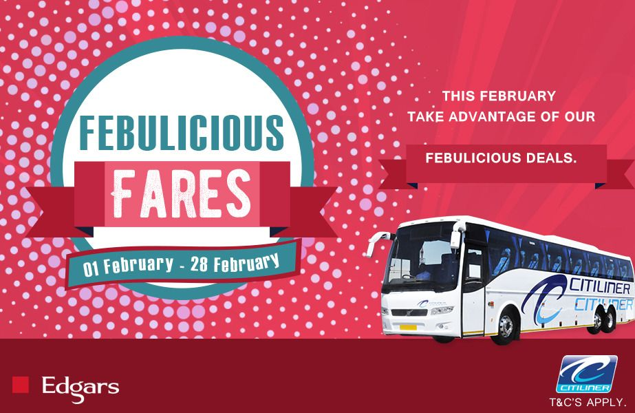 Have you booked your ticket yet? Don't forget to take advantage of our #Febulicious discounts before time runs out. You can book your ticket through our 24hrs Customer Care/Reservations department on one of the following numbers: 011 611 8000 | 083 915 9000