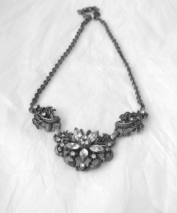 Vintage Coro Antiqued Silver Tone Necklace by MargsMostlyVintage, $47.00