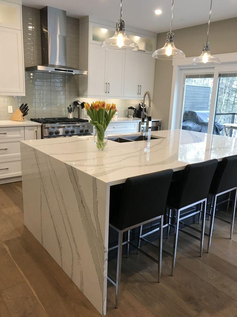 cambria brittanica quartz waterfall island by bella marble granite inc granite kitchen on kitchen island ideas white quartz id=21676