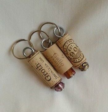 Cork Keychains with beautiful Lampwork Beads by ThisandThatCrafter