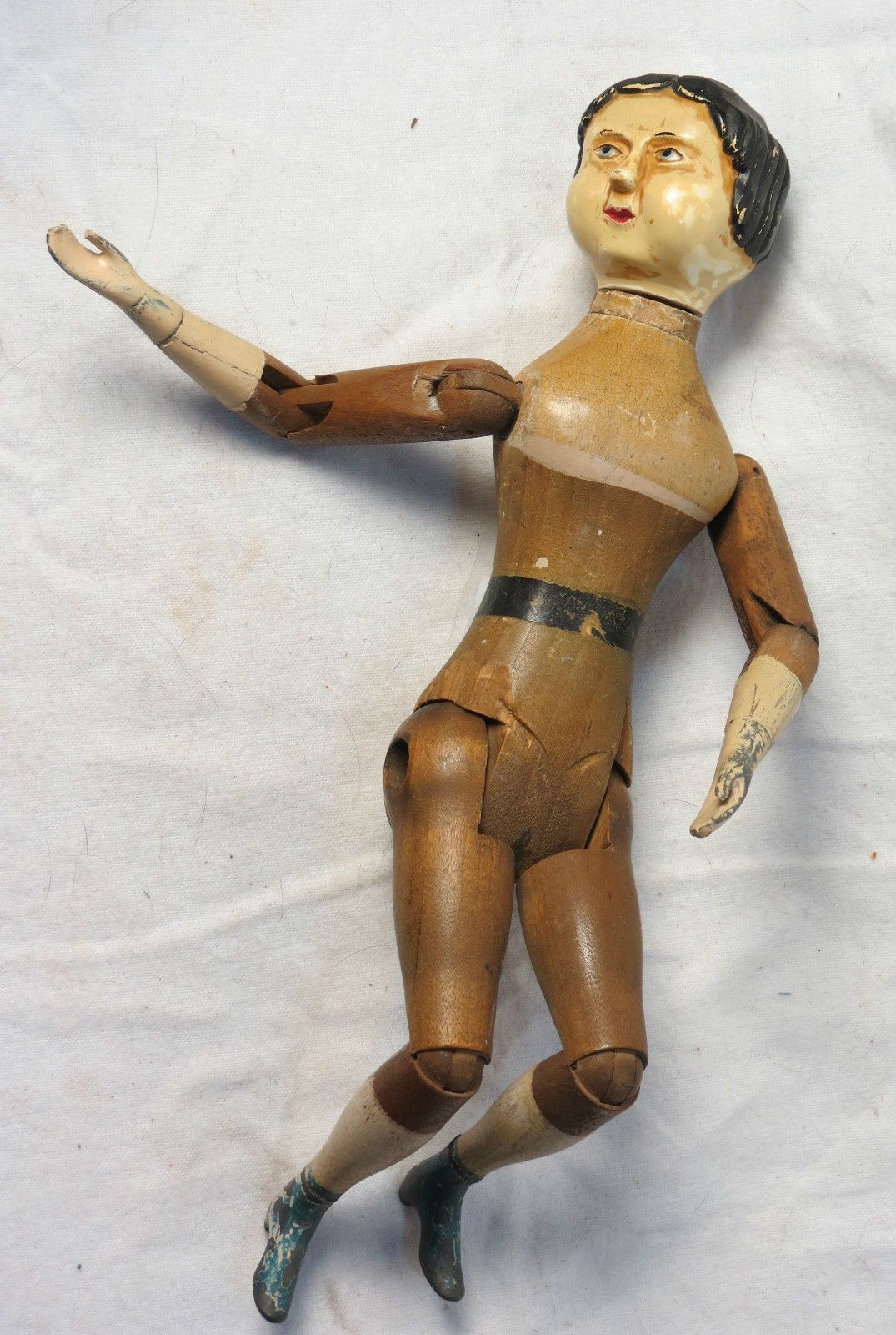 Antique Wooden Doll W Metal Hands And Legs Springfield Vt 1800 S Ebay