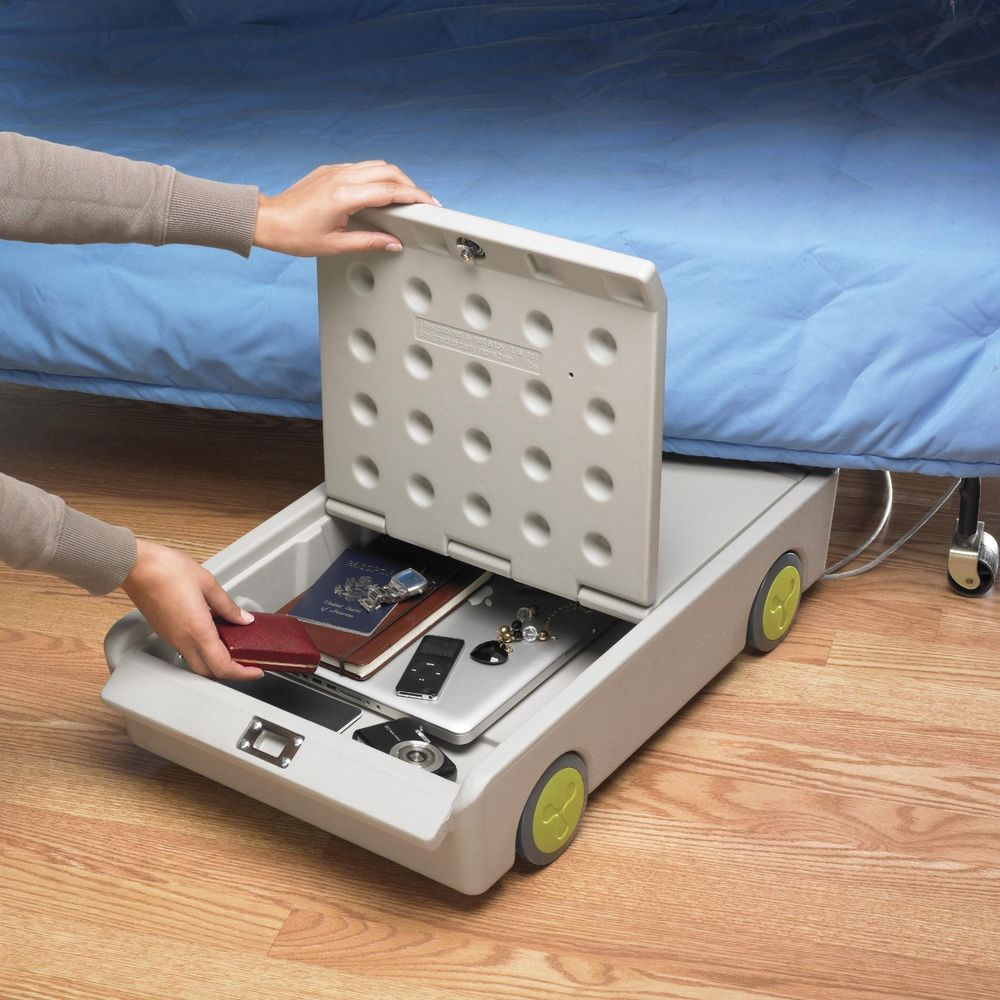 Portable Lock And Roll Personal Under Bed Dorm Safe Storage Box