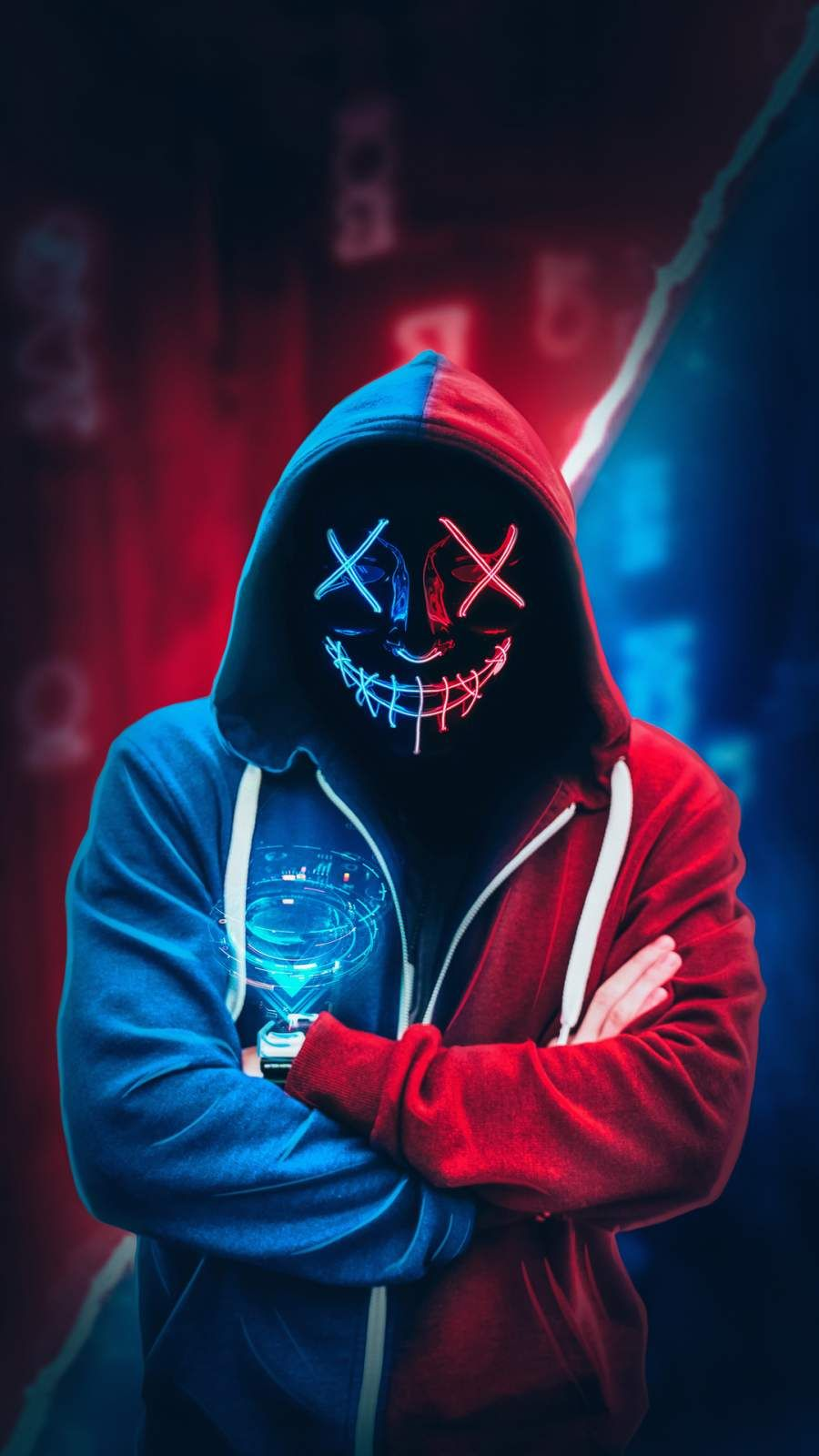 Anonymous Neon Mask Hoodie iPhone Wallpaper Cool