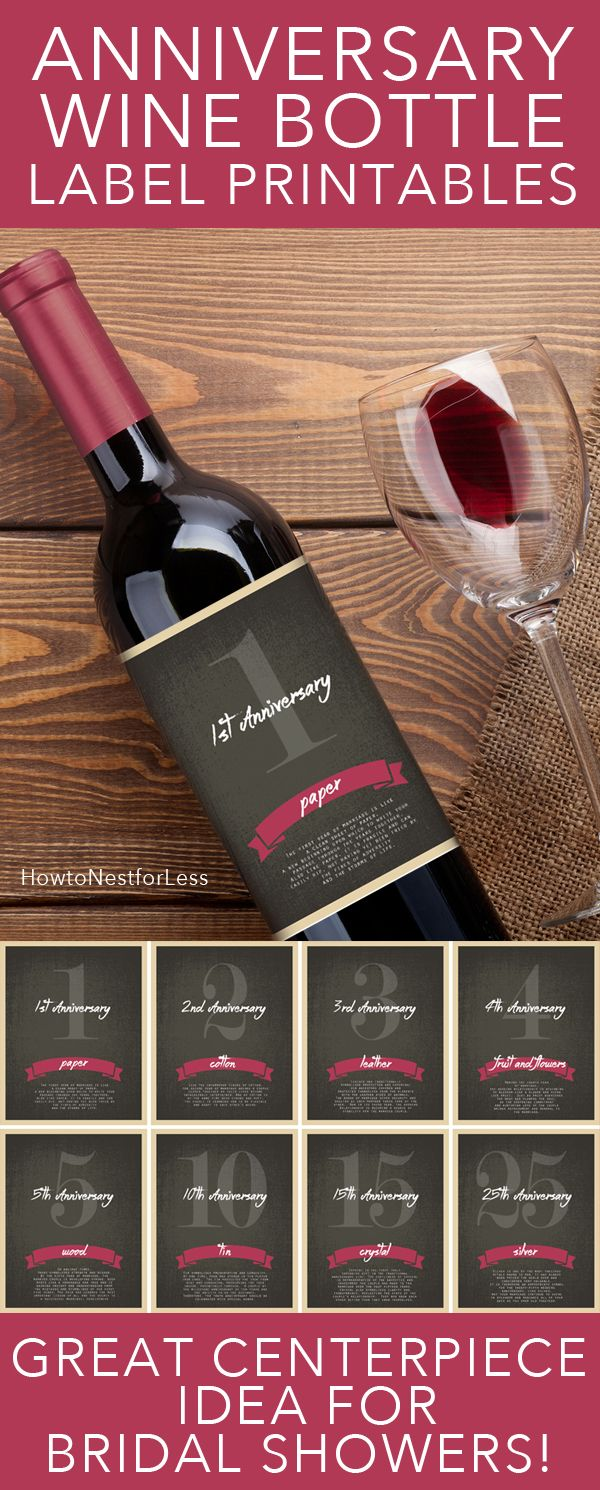 Wine Wine Bottle Anniversary Labels Free Printable
