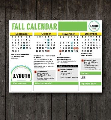 Fall-2016-Bright-Youth-Ministry-Calendar Youth Group Pinterest