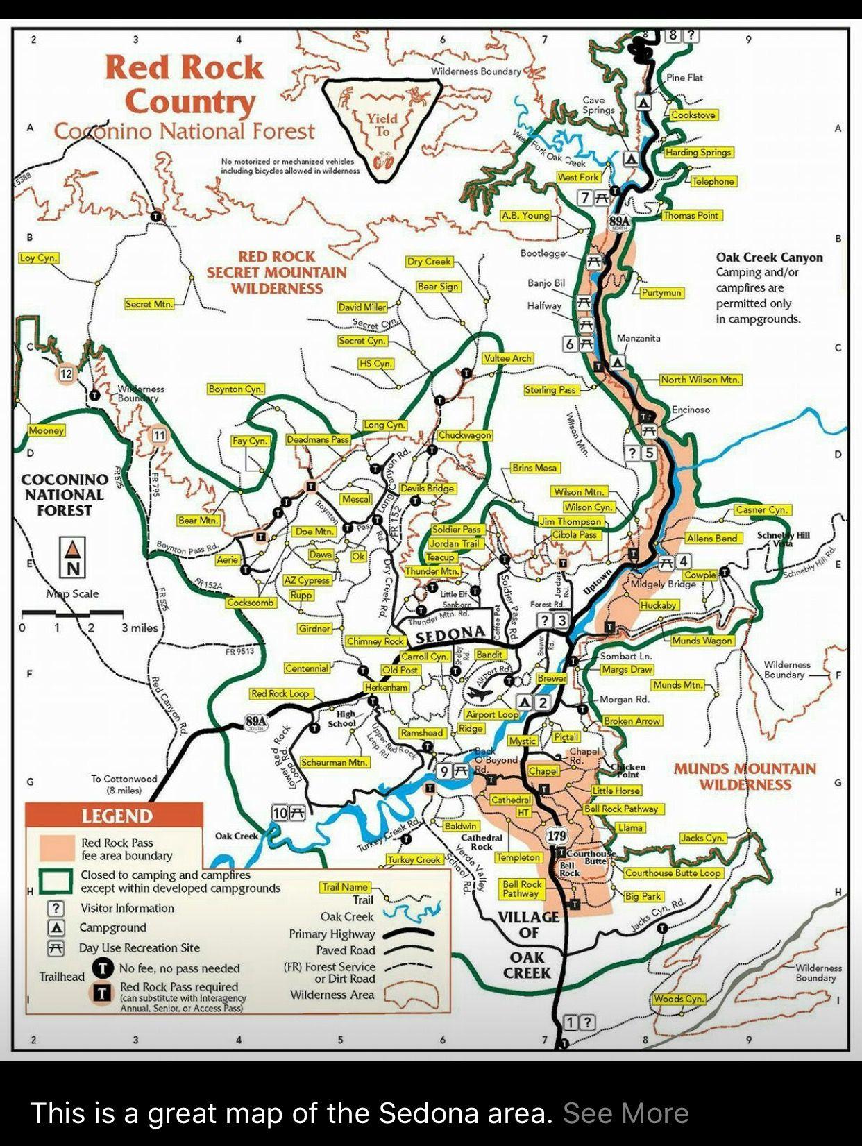 Sedona trail/campsite map | AZ Road Trips in 2019 | Arizona travel ...