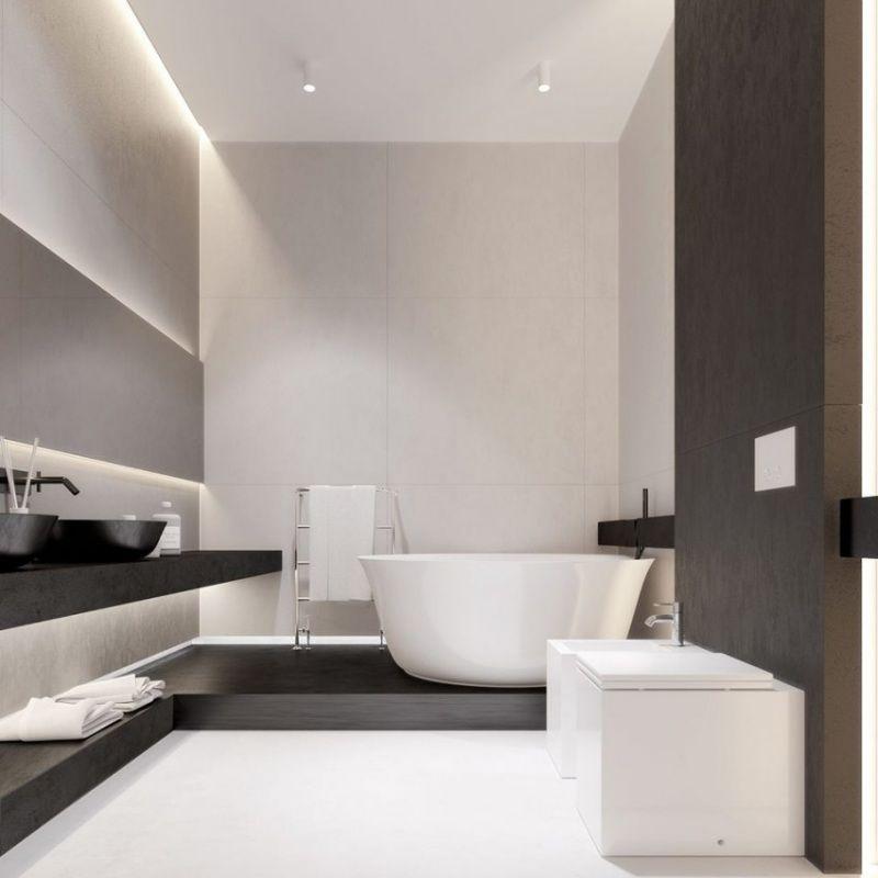 salle de bains claire avec un clairage led indirect sanitaire blanc et accents en bois - Eclairage Indirect Salle De Bain