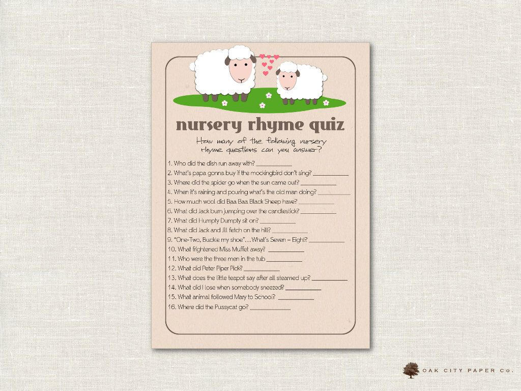 Charming Lamb Nursery Rhyme Quiz Baby Shower Game   Sheep Nursery Rhyme Baby Shower  Game, Printable