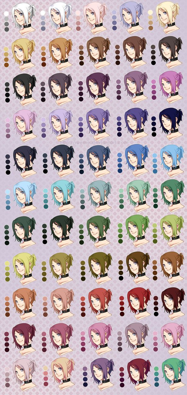 Hair Colour Palette By Rueme On Deviantart Anime Hair Color Drawing Tutorial Drawing Reference