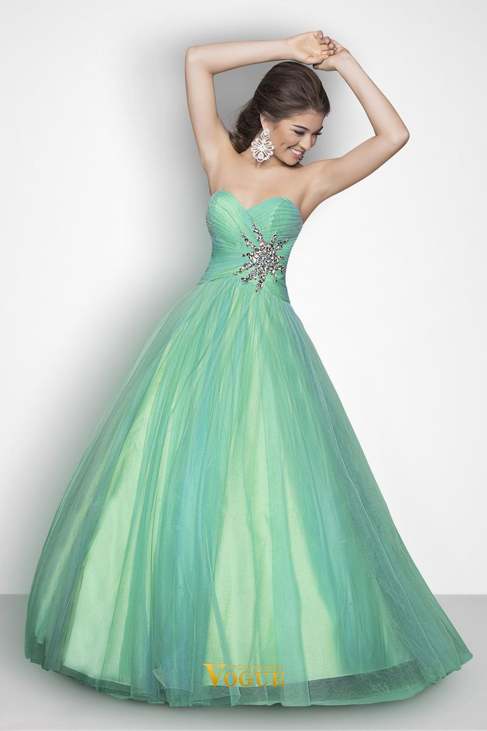 A line floor length green sweetheart tulle fashion adoration