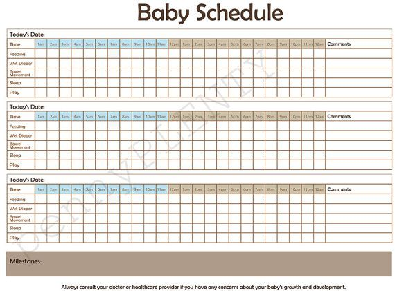 Daily Schedule and Log for Baby Feeding Diaper by ...