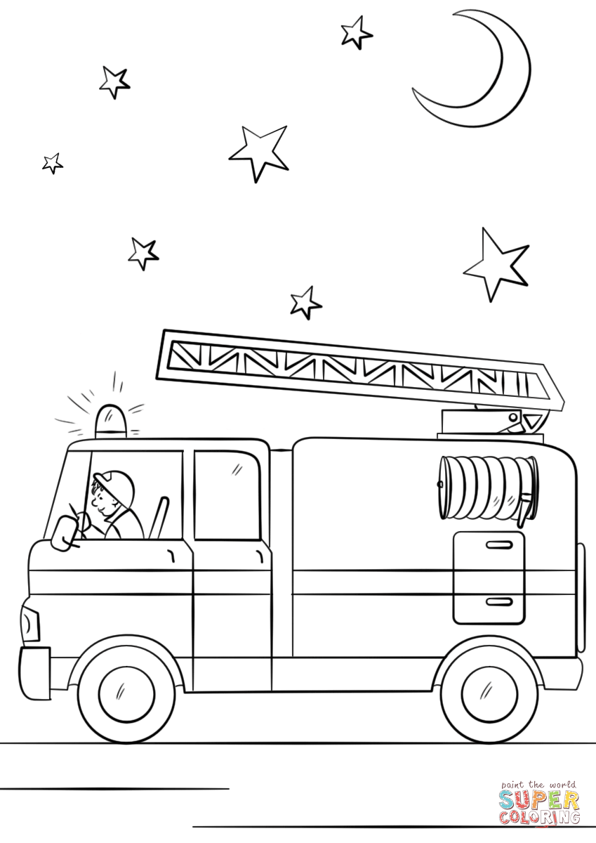 Preschool Fire Truck Coloring Page : preschool, truck, coloring, Truck, Action, Super, Coloring, Pages,, Trucks