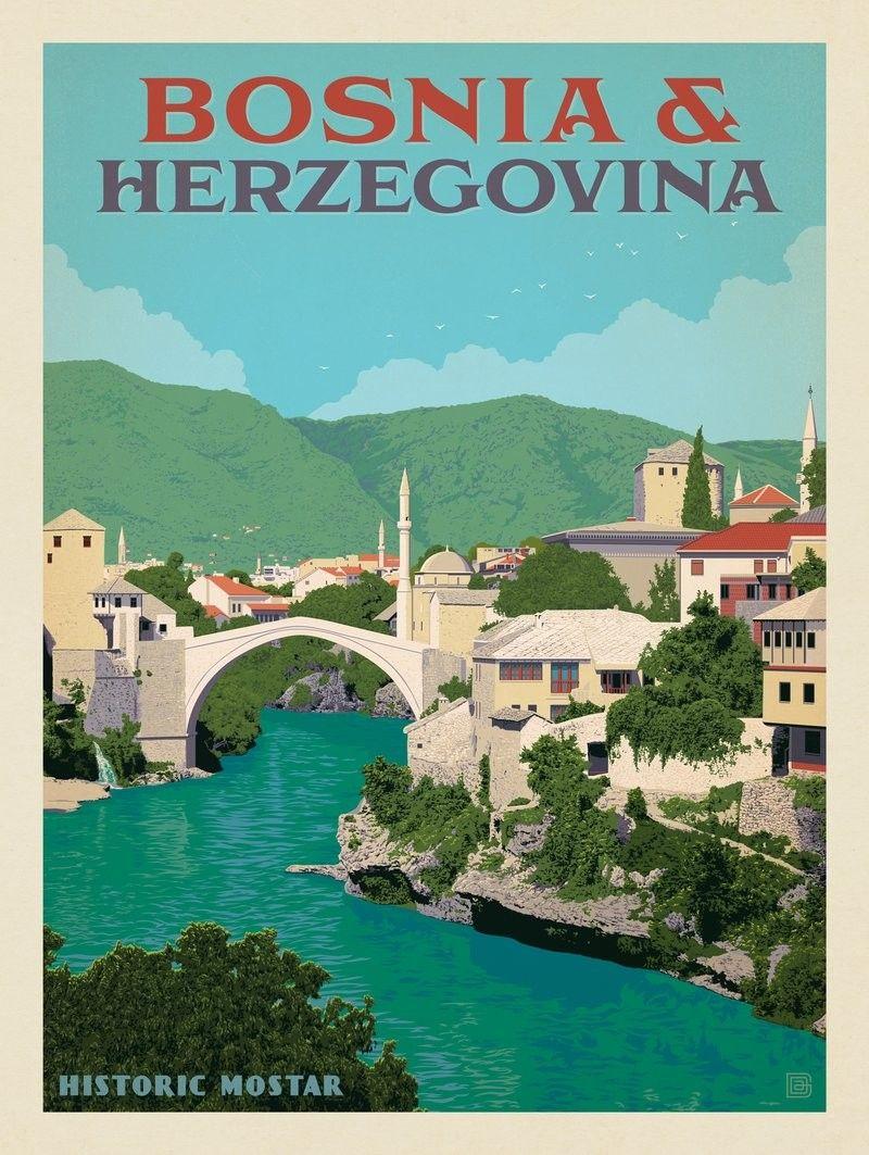 Vintage Bosnia Herzegovena Tourism  Poster 2  A3 Print