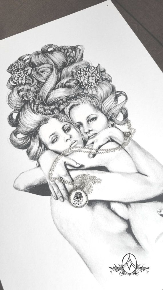 Bound- illustration-feminitst - twins-sister- lesbian-mother art- necklace