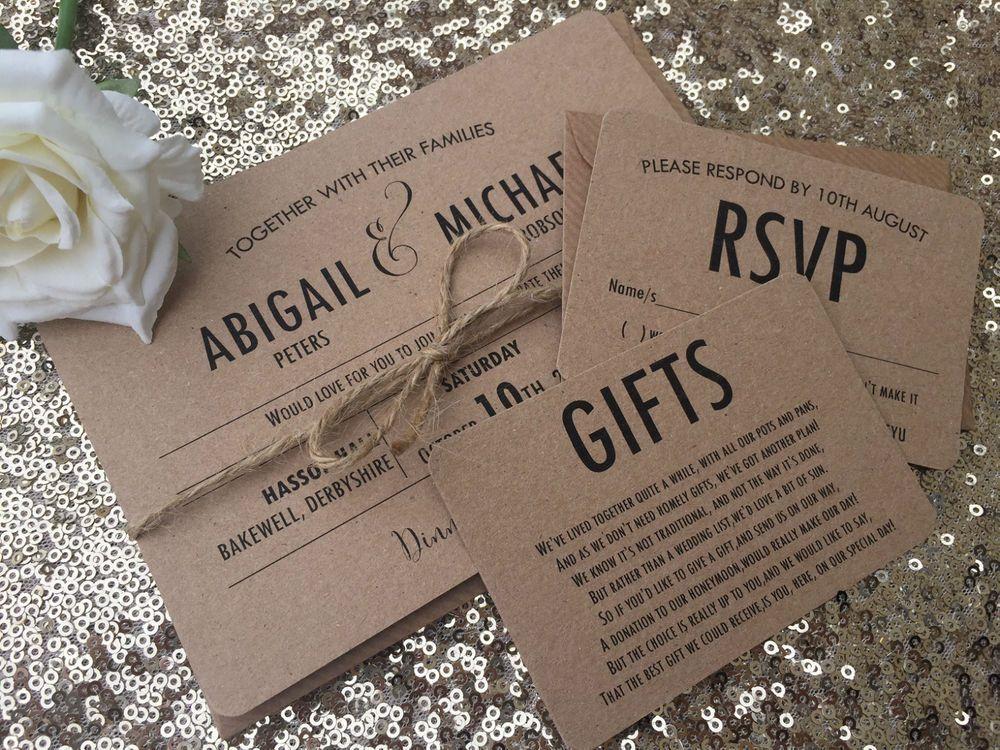 VintageRustic Abigail Wedding InvitationRsvpGift Card Sample