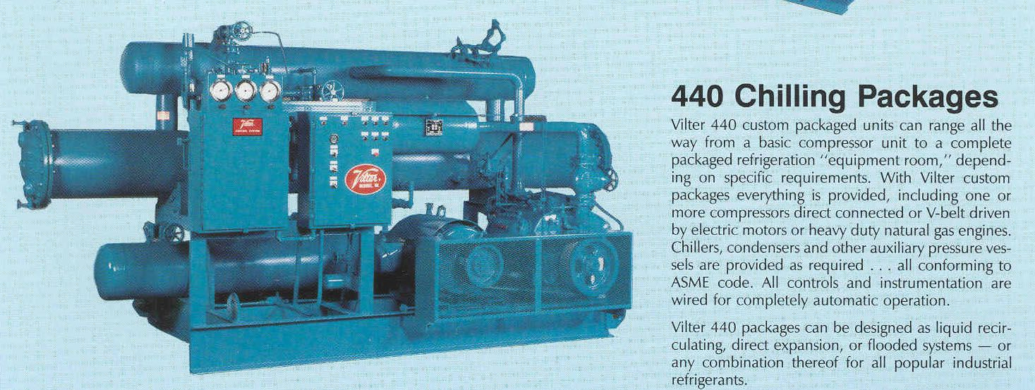 Our Vilter chiller uses a unique single screw compressor