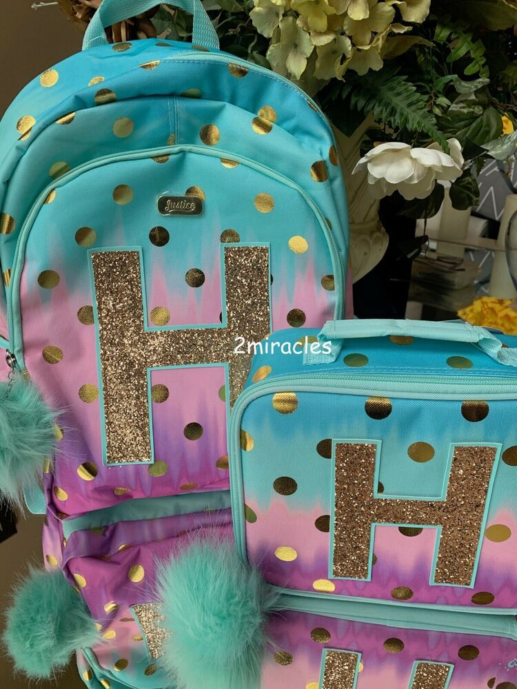 """JUSTICE 'Ombre' Foil Dot' Initial """"S""""Backpack"""