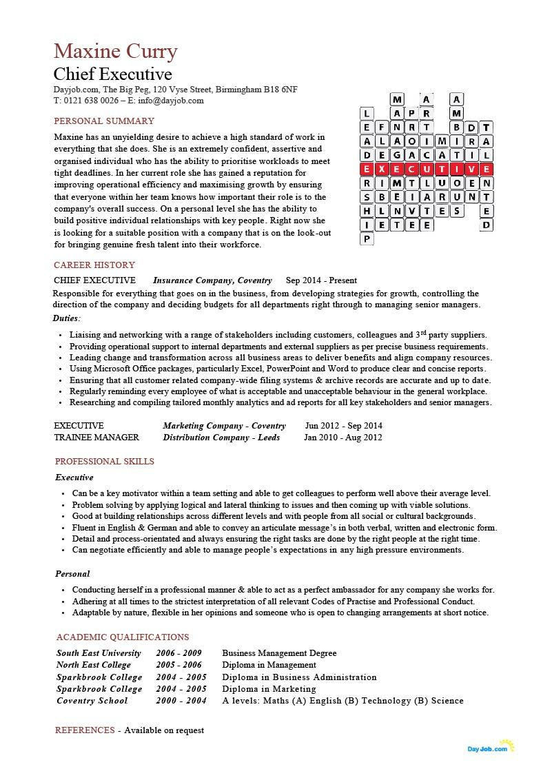 Ceo Resume Template Chief Executive Resume Cv Example Officer Ceo Crossword