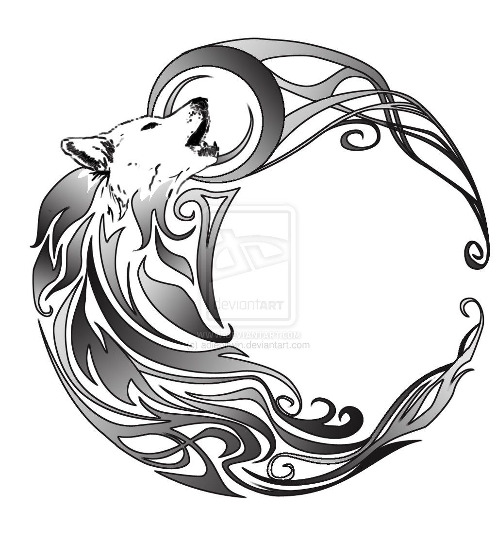 Tribal Wolf By Adiehltwin On Deviantart Wolf And Moon Tattoo Wolf Dreamcatcher Tattoo Celtic Wolf Tattoo