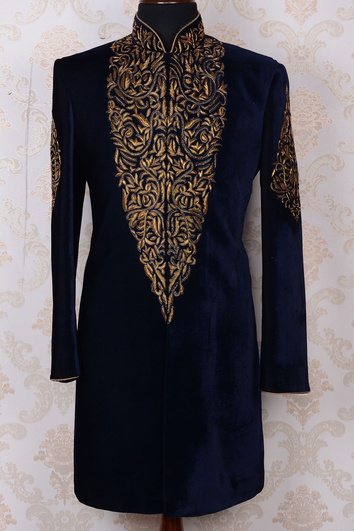 Ink blue u gold pure velvet royal indo western sherwaniiw