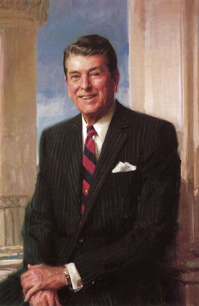 10x8 Inch (25x20cm) Print. Ronald Reagan Date: 1981. art, fine, assorted, united, states, history, historical, world, portrait, gallery, portraits, government, portraiture, politics, nation, political, leader, president, leaders, commander, system, chief, executive, administration, rule, presidents, bureaucracy, governmental, bureaucratic, ronald, raymond, everett, fortieth, reagan, kinstler, 1981 1989. Image supplied by Bubblepunk