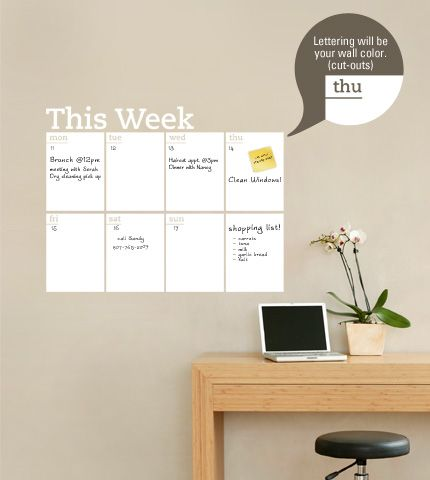 Dry Erase Weekly Planner Calendar Decal   Simple Shapes Wall Decals,  Furniture, And Accessories