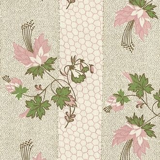 Vintage Laura Ashley, Pink Flowers On Dotted Green Stripe & Pink Honeycomb Background