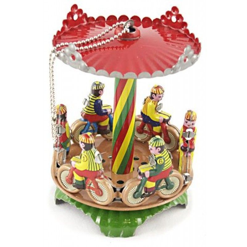 Bicycle Carousel Christmas Ornament Tin Toy Tin toys - christmas carousel decoration