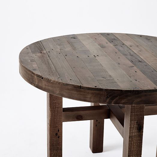 emmerson reclaimed wood round dining table home round. Black Bedroom Furniture Sets. Home Design Ideas