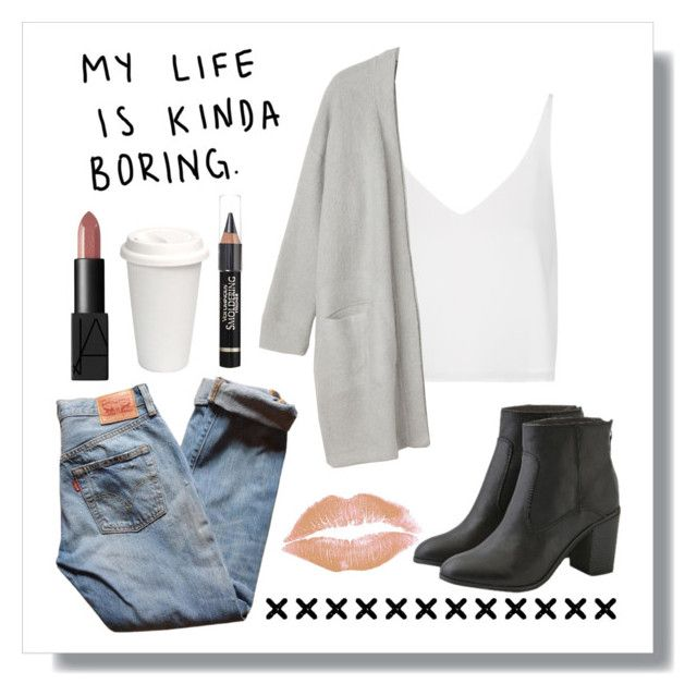"""""""my life is kinda boring"""" by peacefreak27 ❤ liked on Polyvore featuring Topshop, Monki, NARS Cosmetics, L'Oréal Paris, Levi's, American Eagle Outfitters, women's clothing, women, female and woman"""