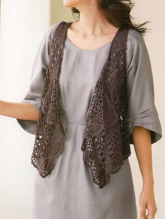 tığ işi kahverengi şal modelli örgü yelek modeli #crochetsweaterpatternwomen