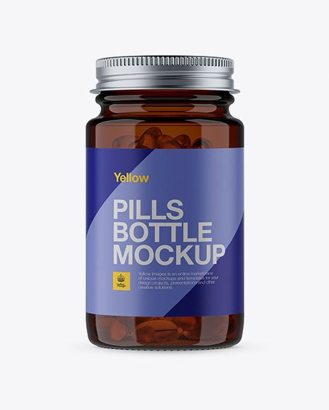 Download Free Mockups Amber Glass Softgels Bottle With Metal Cap ... Free Mockups