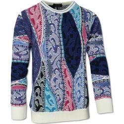 Photo of Rundhals Pullover mit Jacquard Strickmuster, Weiß-Petrol Carlo Colucci