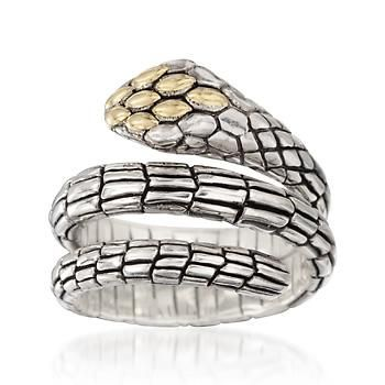 Balinese Two-Tone Snake Ring. Let this stylish snake slither right into your jewelry box. Streamlined in shape and rich in detailing, our sly snake ring is expertly crafted in Bali. Antiqued sterling silver and 18kt yellow gold ring.