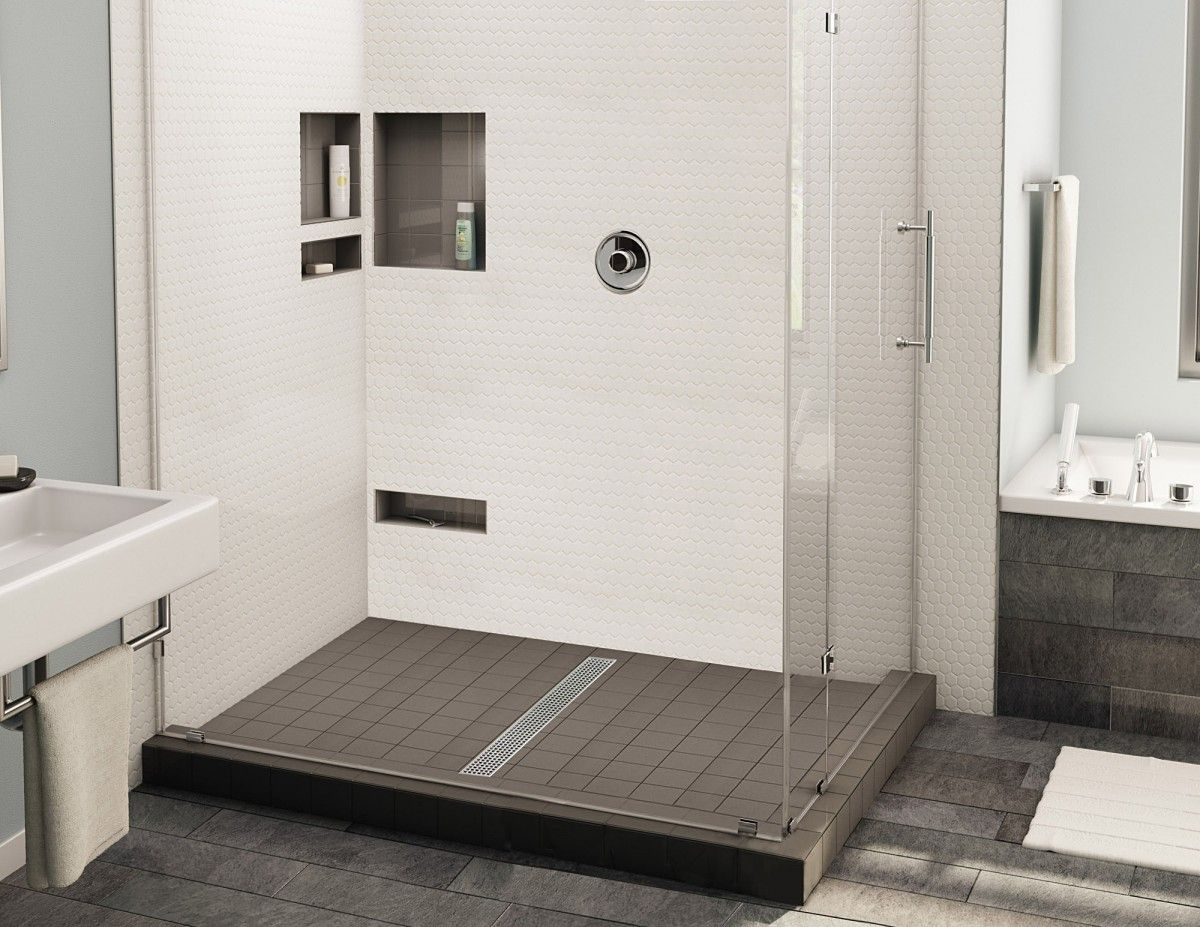 Redi Trench Double Curb Shower Pan With Center Linear Drain