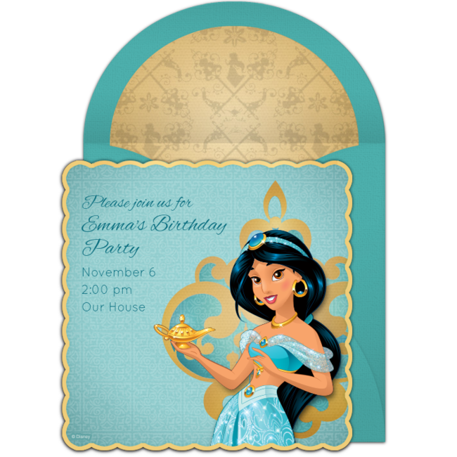 Princess Jasmine Free Birthday Party Invitation   Perfect For Inviting  Guests To An Aladdin Birthday Party Or Arabian Nights Themed Party.
