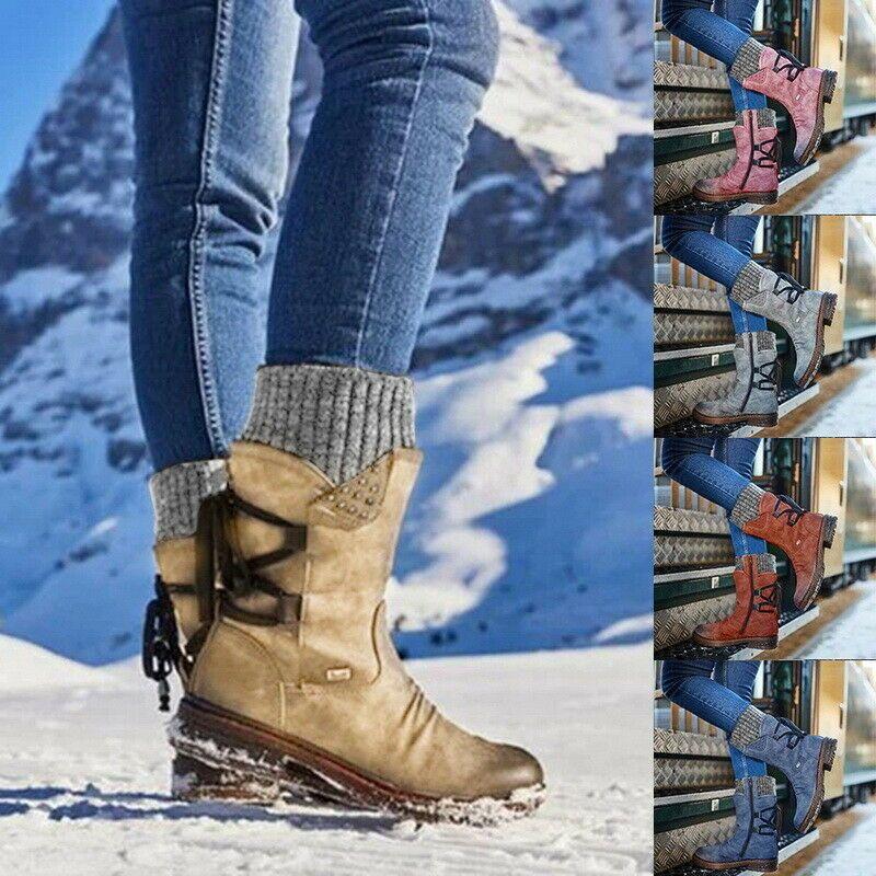 Damen Schlupf Stiefeletten Stiefel Schnurboots Winterstiefel Schnee Flach Schuhe Damen Schuhe Ideas Of Damen Schuh Boots Womens Boots Womens Mid Calf Boots