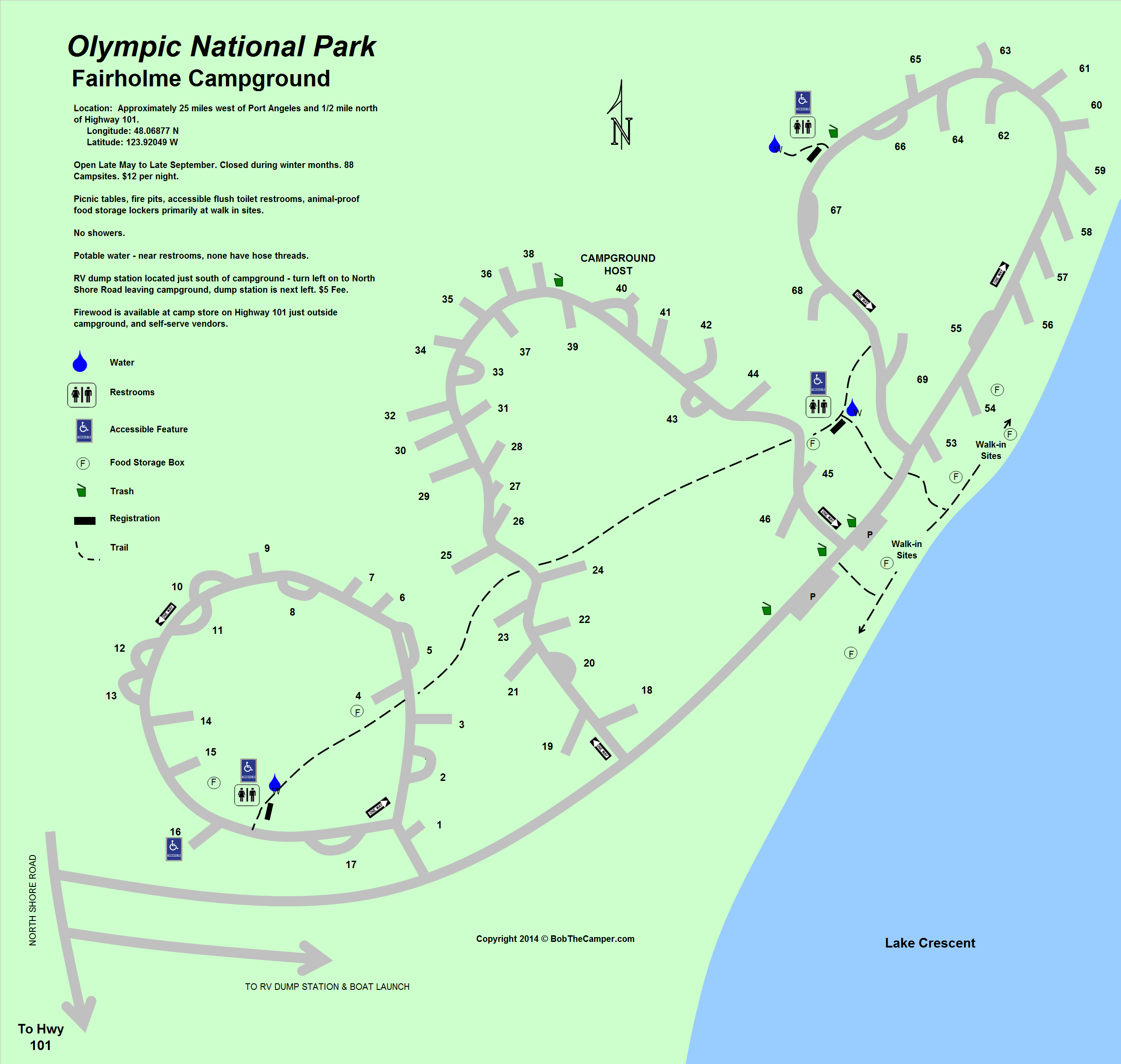 Olympic National Park Fairholme Campground Map Camping and Hiking