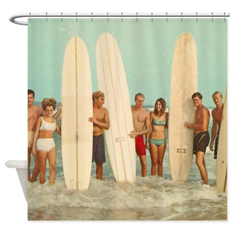 Vintage Surfers Surfing Shower Curtain With Images Vintage Shower Curtains Beach House Decor Surfer