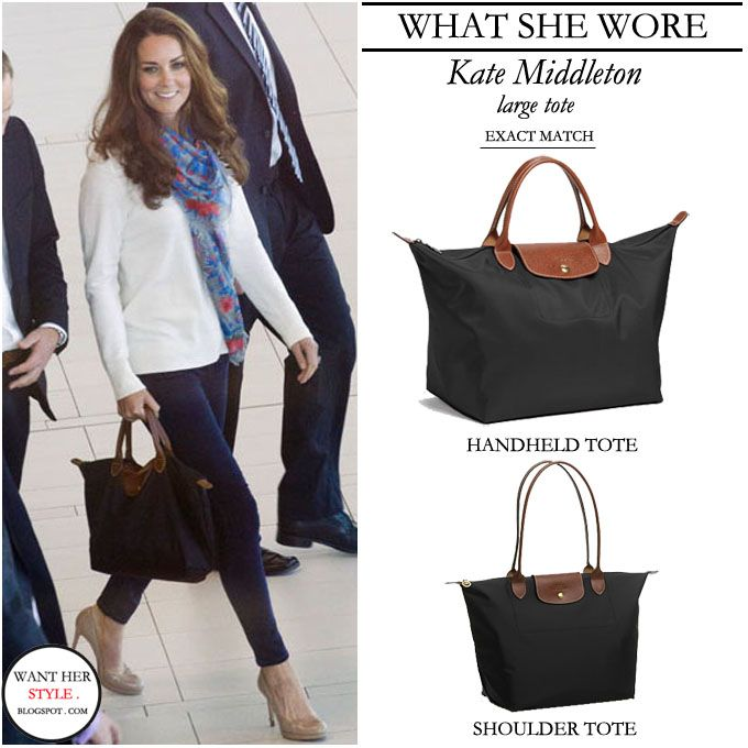 WHAT SHE WORE  Kate Middleton with medium size Longchamp Le Pliage black  tote with leather straps ~ I want! 4bc0765919